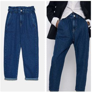 ZARA Paperbag High Waist Crop Jeans